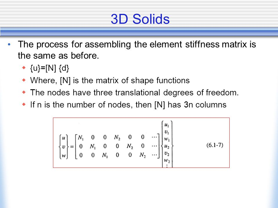 3D Solids The process for assembling the element stiffness matrix is the same as before. {u}=[N] {d}